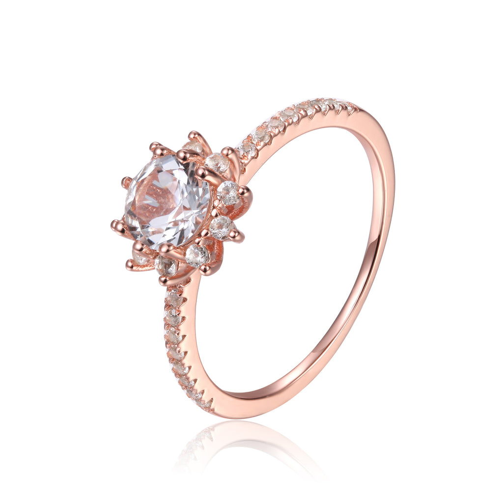 Evergreen Solitaire  Rose Gold Plated Sterling Silver Ring with White Topaz