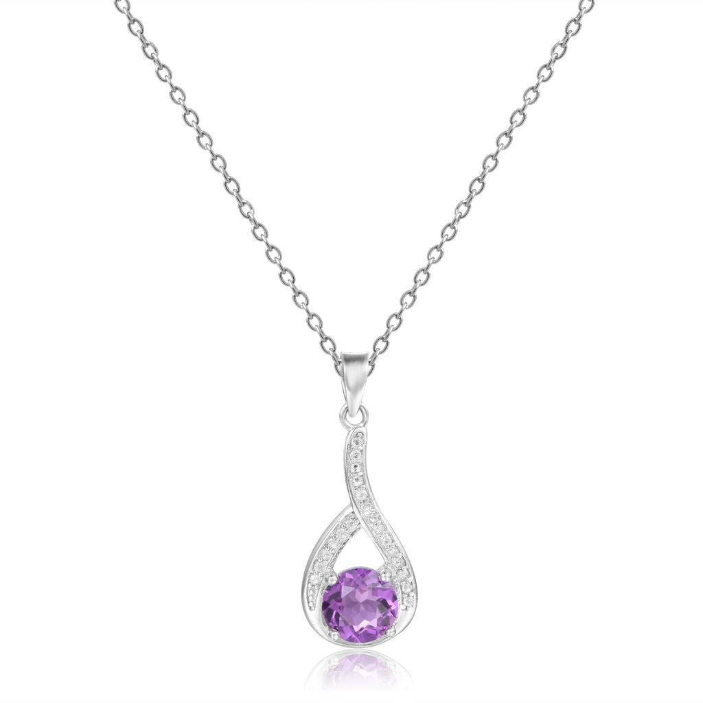 Sophisticated Round cut Natural Amethyst Pendant Necklace with White Sapphire