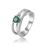 Ornate Round cut Genuine Emerald Ring with White Sapphire