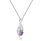 Graceful Round cut Natural Amethyst Pendant Necklace with White Sapphire