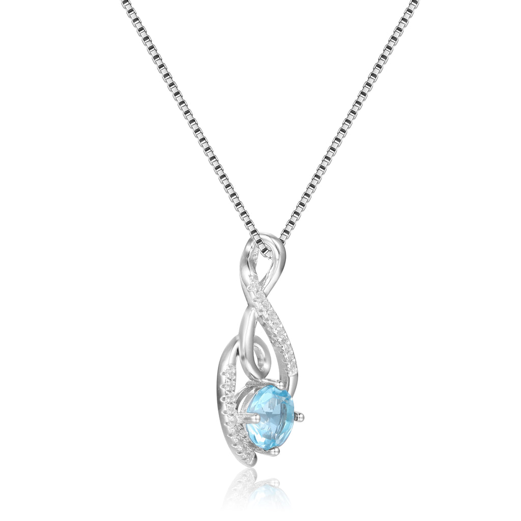 Graceful Round cut Natural Blue Topaz Pendant Necklace with White Sapphire