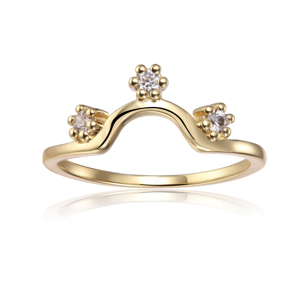 Crown All Natural White Sapphire Round cut Yellow Gold Plated Sterling Silver Ring