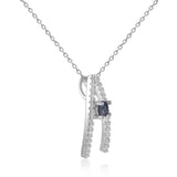 Enchanting Round cut Genuine Blue Sapphire Pendant Necklace with White Sapphire