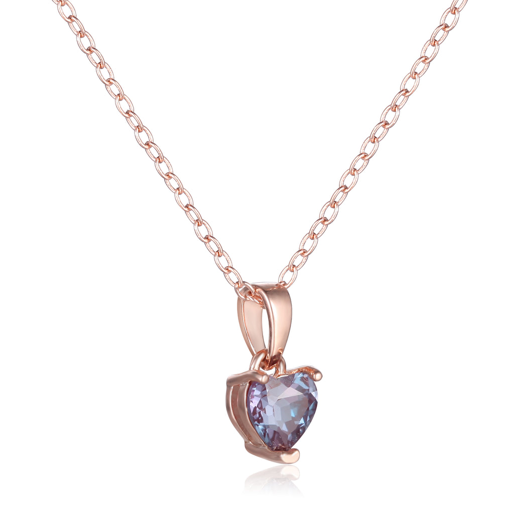 Rose Gold Plated Sterling Silver Heart Created Alexandrite Pendant Necklace