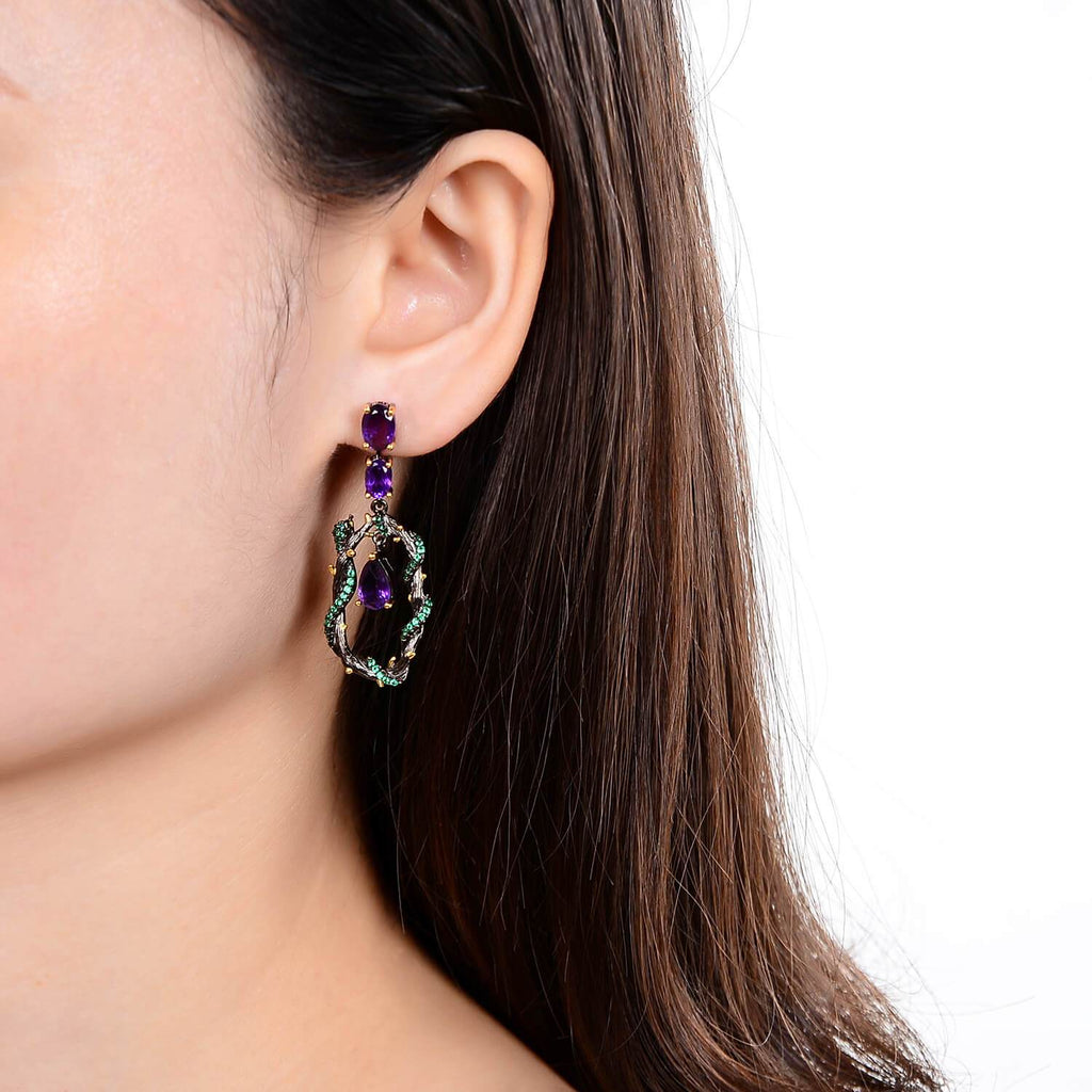 Exotic Nature Inspired Amethyst Earrings