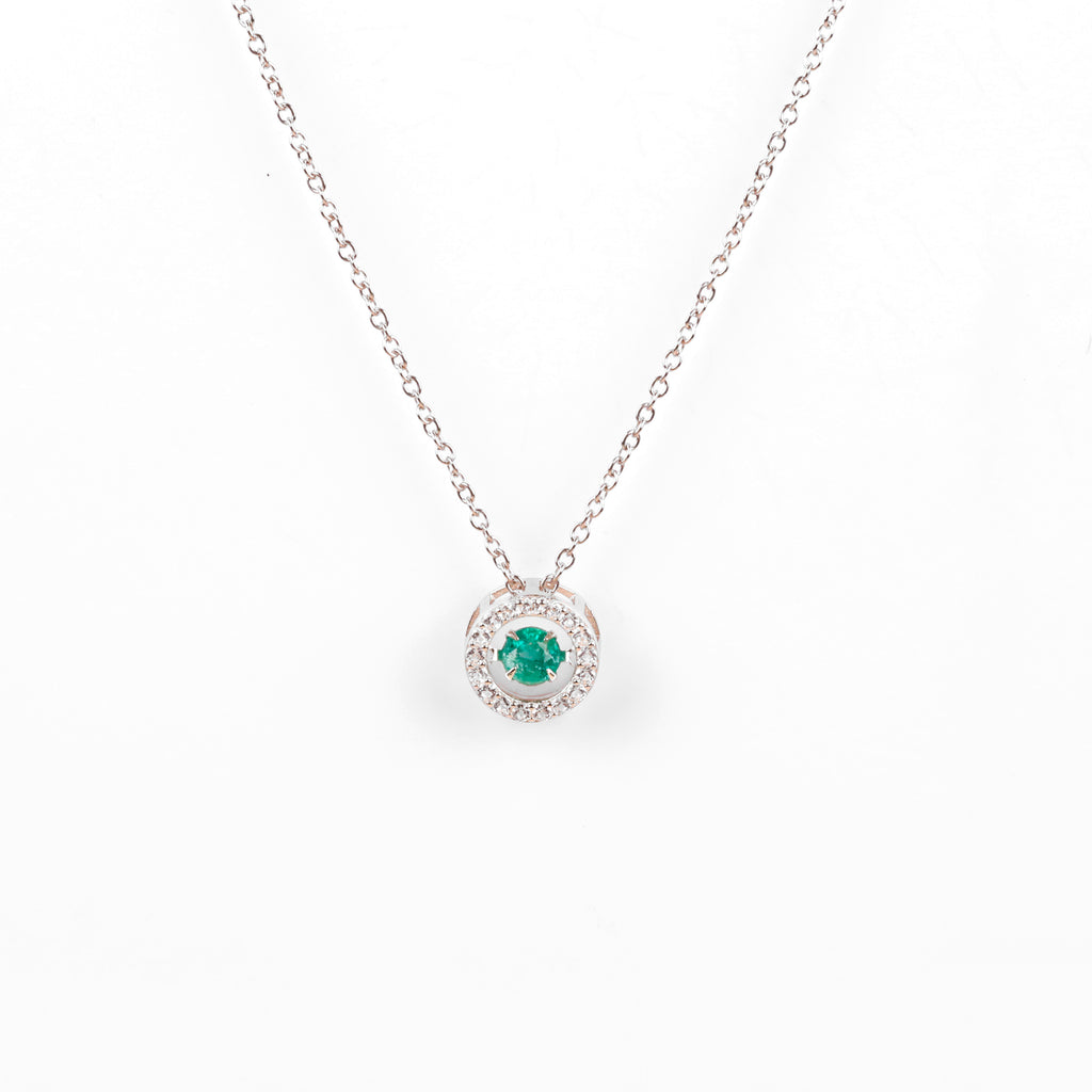 Genuine Emerald Dancing Necklace | 925 Sterling Silver Necklace | Beautiful Necklace for her