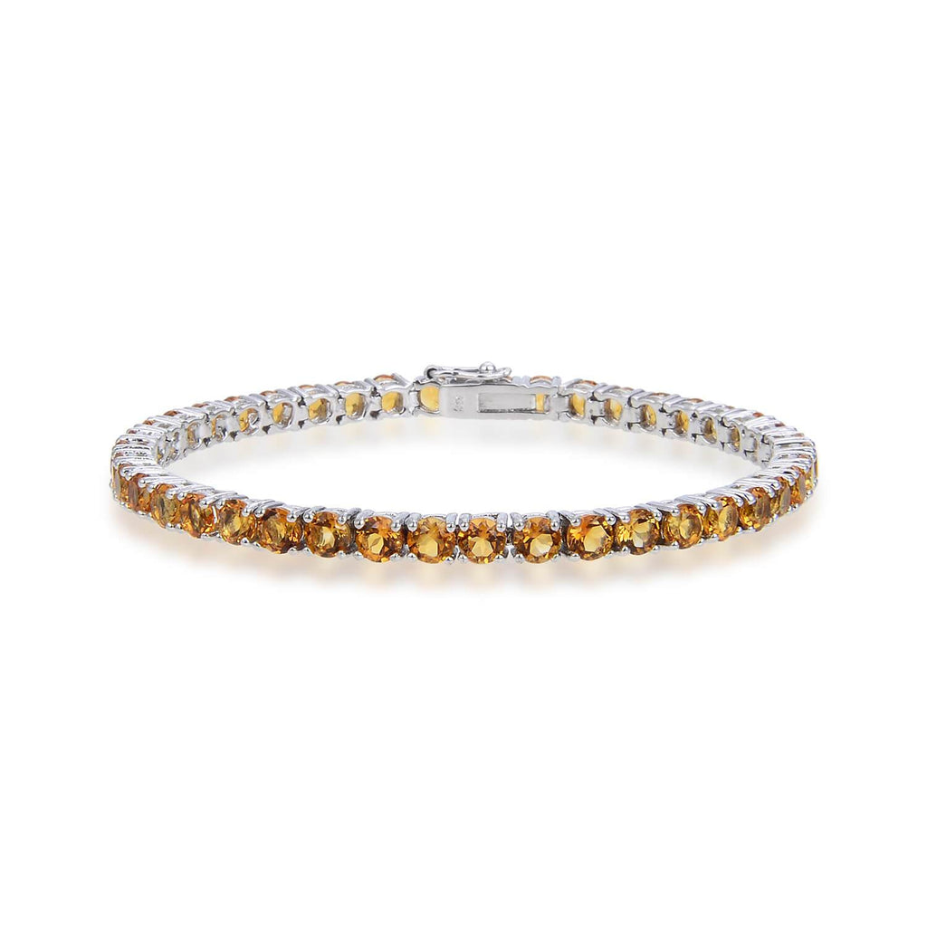 Petite Sterling Silver Citrine Bracelet, $ 200 - 300, Citrine, Round, Yellow, 925 Sterling Silver, Tennis