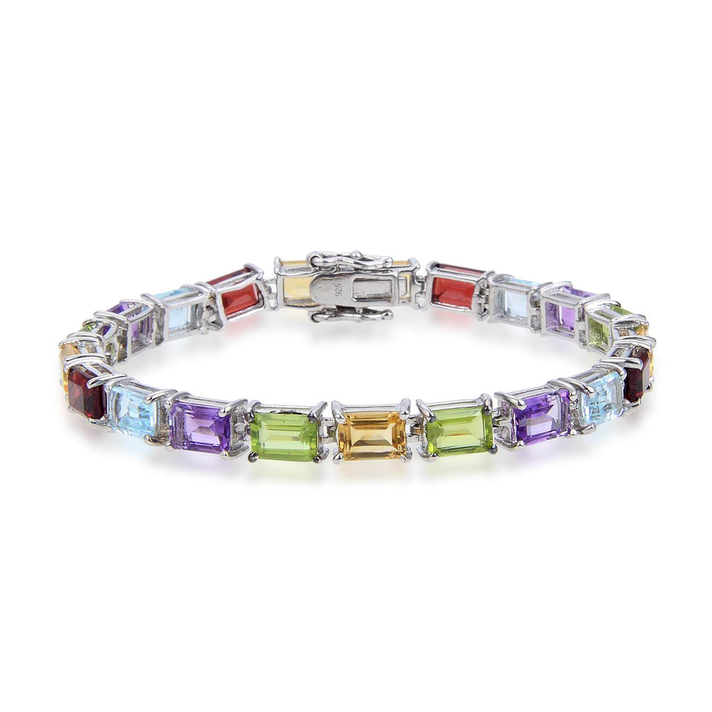 Multi Color Sterling Silver Bracelet, $ 150 - 200, $ 200 - 300, Octagon, Blue, Purple, Green, Yellow, 925 Sterling Silver, Tennis