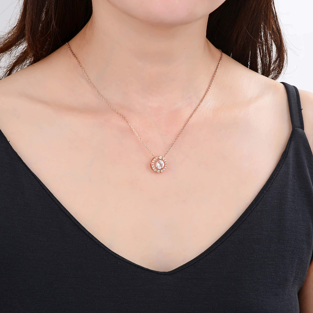 Signature Round Rose Gold White Topaz Necklace. $ 50 & Under, White Topaz, White, Round, 925 Sterling Silver Ð Gold Plated Rose, Halo