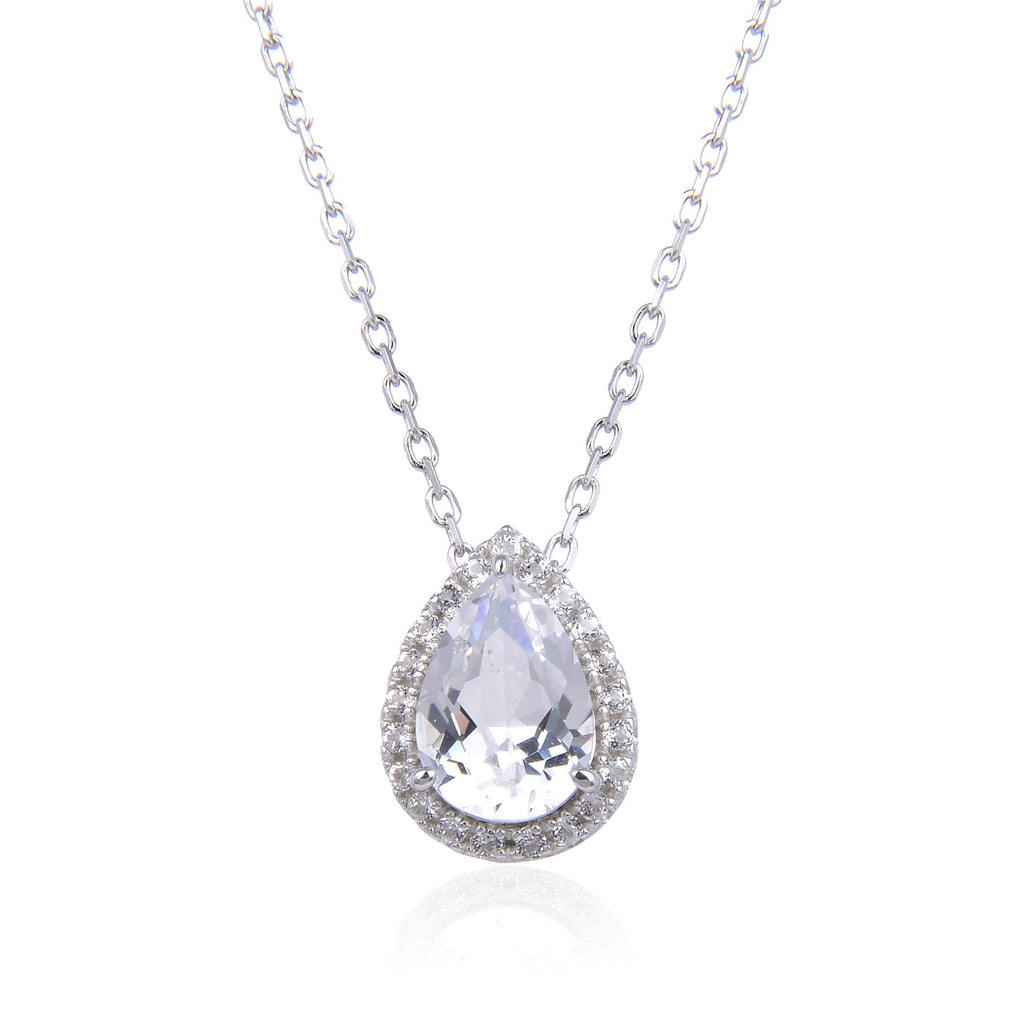 Signature Pear Shaped White Topaz Necklace. $ 50 & Under, White Topaz, White, Pear, 925 Sterling Silver, Halo