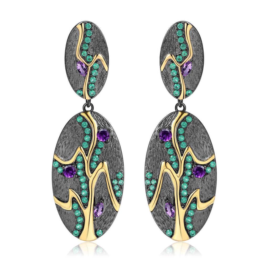 Signature Gold-Plated Amethyst Earrings. $ 50 - 100, Amethyst, Purple, Oval, 925 Sterling Silver, Dangle