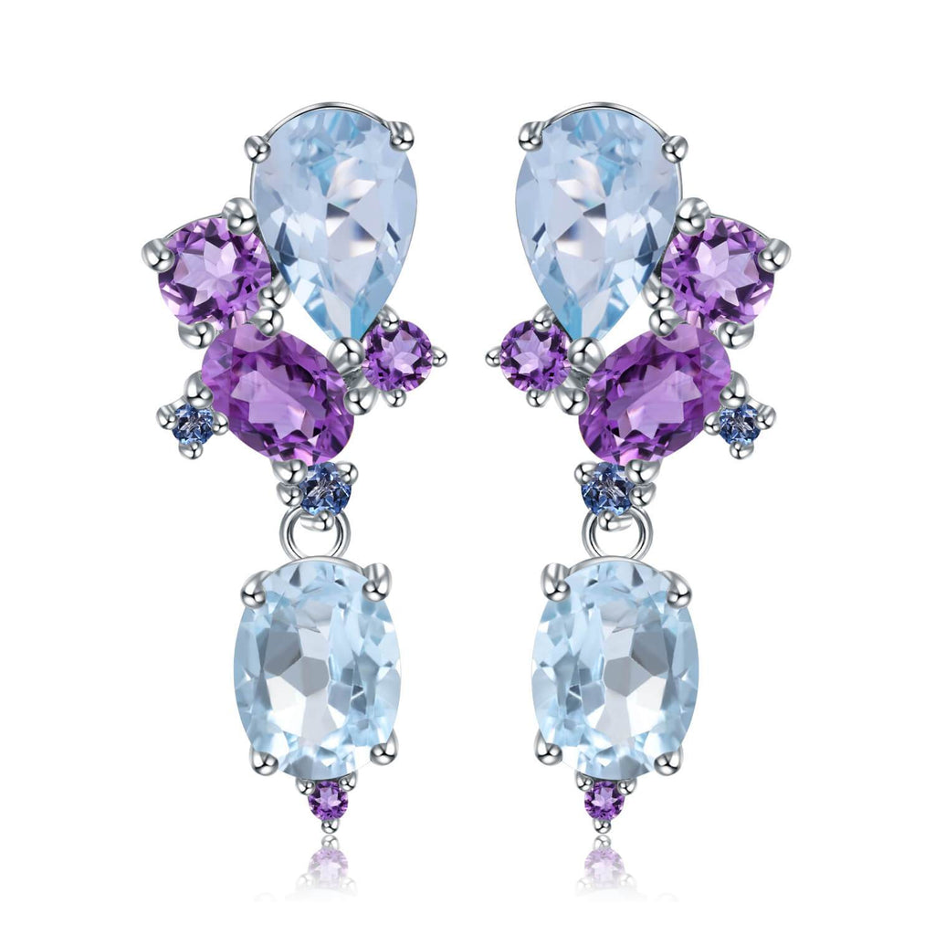 Classic Sterling Silver Blue Topaz and Amethyst Earrings. $ 50 - 100, Blue Topaz, Amethyst, Purple, Blue, Oval, Pear, 925 Sterling Silver, Dangle