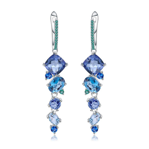 Classic Sterling Silver Mystic Quartz and Blue Topaz Earrings. $ 50 - 100, Blue Topaz, Cushion, Oval, Round, Blue, Iolite, 925 Sterling Silver, Dangle, Drop