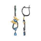 Artisan Blue Topaz Gold-Plated Butterly Earrings. $ 50 - 100, Blue Topaz, Marquise, Oval, Pear, Blue, Green, 925 Sterling Silver, 925 Sterling Silver Ð Gold Plated Yellow, Dangle, Drop