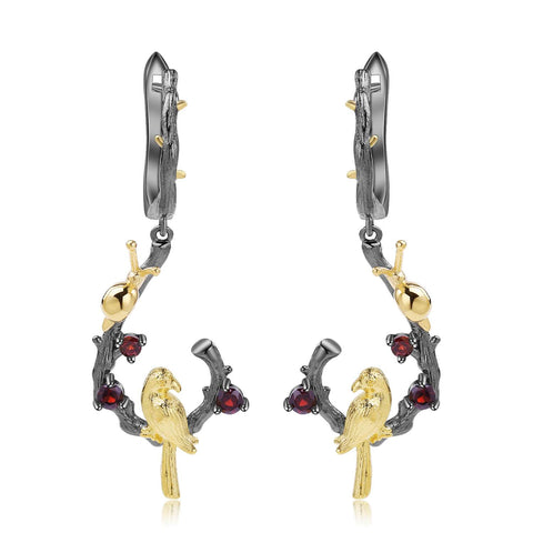 Exotic Nature Inspired Garent Gold Plated Robin Earrings. $ 50 - 100, Garnet, Red, Round, 925 Sterling Silver, 925 Sterling Silver Ð Gold Plated Yellow, Dangle, Drop