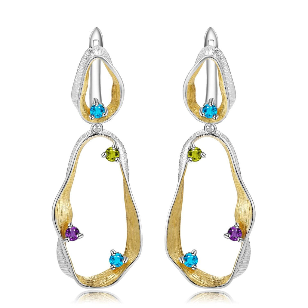 Signature Rhodium and Gold Plated Earrings. $ 50 - 100, Blue Topaz, Peridot, Amethyst, Round, 925 Sterling Silver, Dangle, Hoop