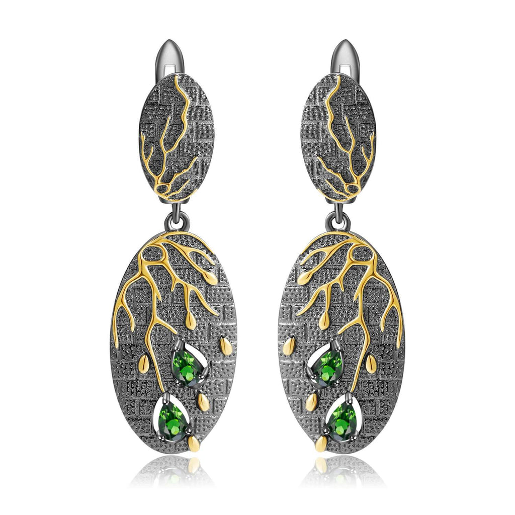 Artisan Gold Plated Dangling Diopside Earrings, $ 50 - 100, Green, Pear, 925 Sterling Silver, 925 Sterling Silver - Gold Plated Yellow, Dangle, Drop