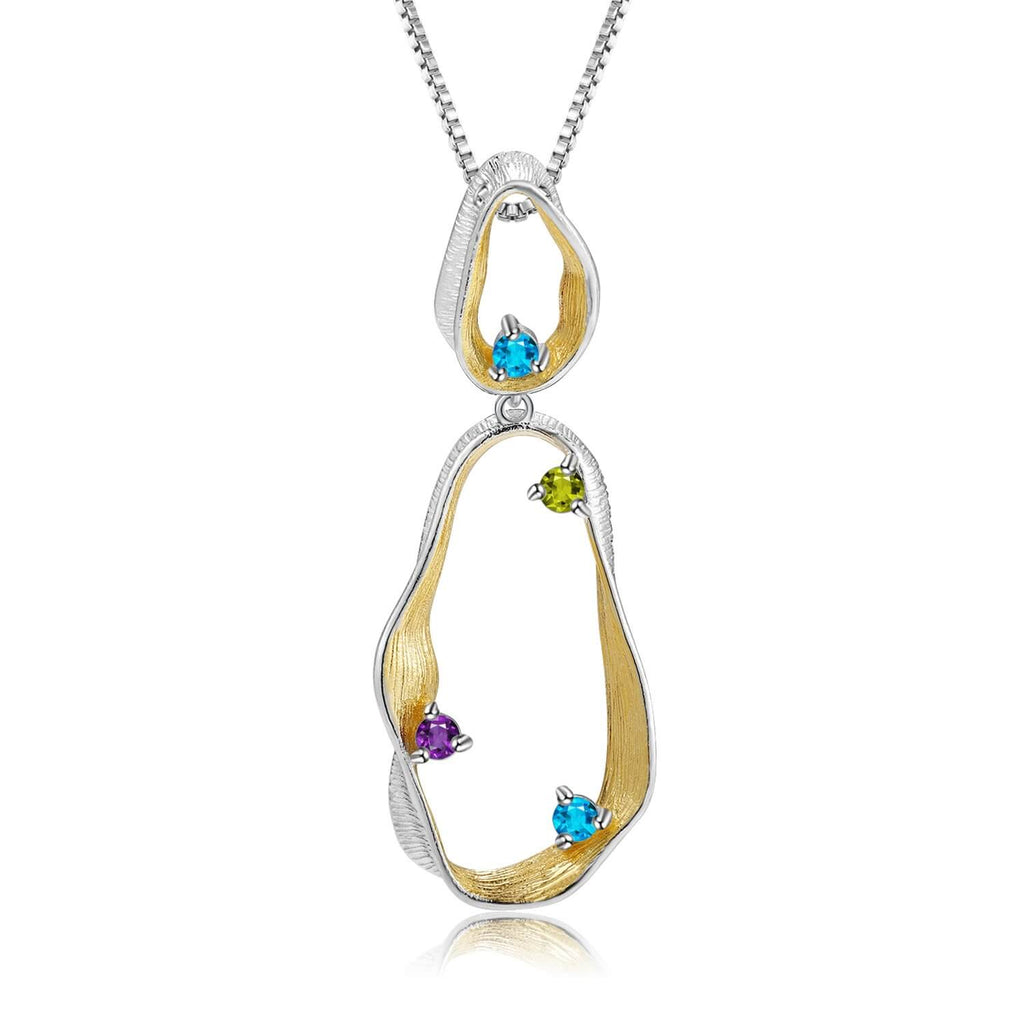 Signature Rhodium and Gold Plated Pendant. $ 50 - 100, Blue Topaz, Peridot, Amethyst, Round, 925 Sterling Silver, Dangle, Fashion