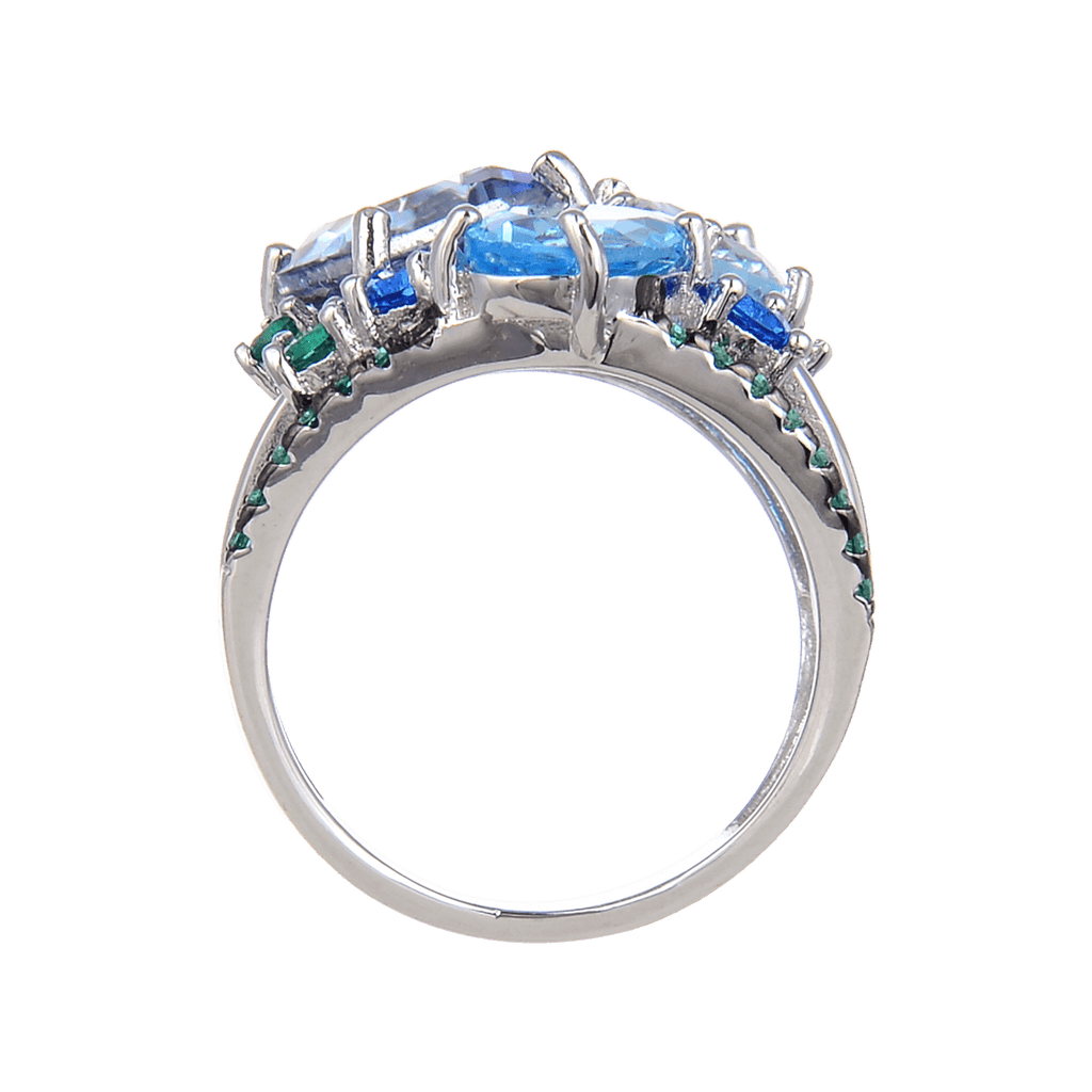 Classic Sterling Silver Mystic Quartz and Blue Topaz Ring. $ 50 - 100, Blue Topaz, Cushion, Round, Oval, Blue, Iolite, 925 Sterling Silver, Cocktail