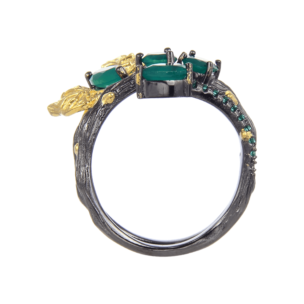 Artisan Green Agate Gold Plated Butterfly Ring. $ 50 & Under, Green, Marquise, Oval, Round, Pear, 925 Sterling Silver, Fashion