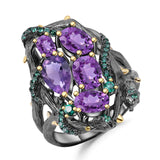 Exotic Nature Inspired Amethyst Ring. $ 50 - 100, Amethyst, Purple, Green, Oval, Pear, 925 Sterling Silver, Cocktail