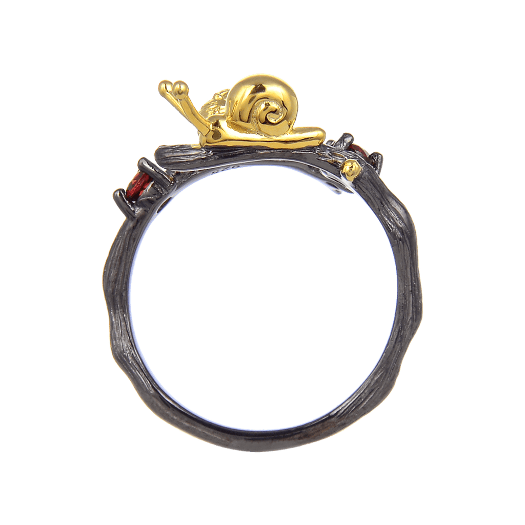 Exotic Nature Inspired Garent Gold Plated Robin Ring. $ 50 & Under, Garnet, Red, Round, 925 Sterling Silver, 925 Sterling Silver Ð Gold Plated Yellow, Fashion