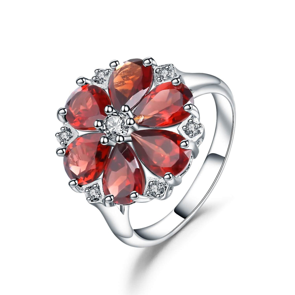 Signature Sterling Silver Blooming Garnet Ring. $ 50 - 100, Garnet, Red, Pear, 925 Sterling Silver, Fashion, Cocktail