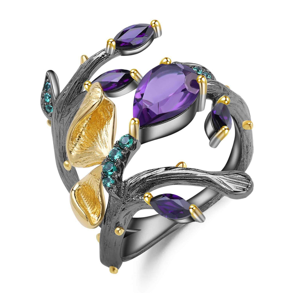 Artisan Gold Plated Petal Amethyst Ring. $ 50 - 100, Amethyst, Purple, Pear, Marquise, 925 Sterling Silver, 925 Sterling Silver Ð Gold Plated Yellow, Fashion