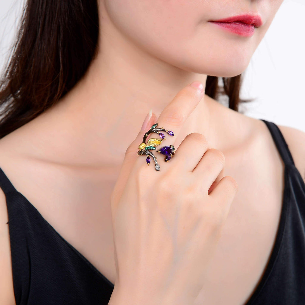 Artisan Gold Plated Petal Amethyst Ring