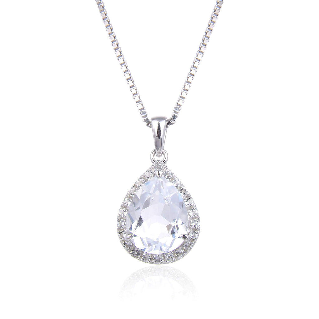 Classic White Topaz Pear Shaped Pendant. $ 50 & Under, White Topaz, White, Pear, 925 Sterling Silver, Halo