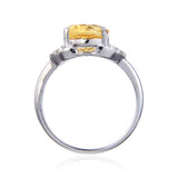Sterling Silver Oval Citrine White Topaz Ring $ 50 – 100, 6, 7, 8, Oval, Citrine, Golden Yellow, White, White Topaz, 925 Sterling Silver, Fashion