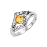 Sterling Silver Square Citrine White Topaz Ring $ 50 & Under, 6, 7, 8, Square, Citrine, Golden Yellow, White, White Topaz, 925 Sterling Silver, Fashion