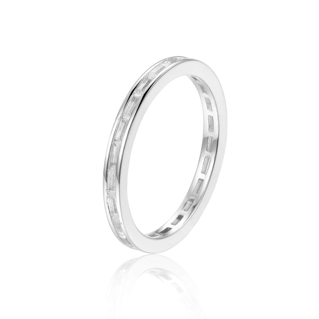 Elegant Baguette White Topaz Sterling Silver Ring, $ 50 & Under, White Topaz, White, Baguette, 925 Sterling Silver, 5, 6, 7, 8, Eternity