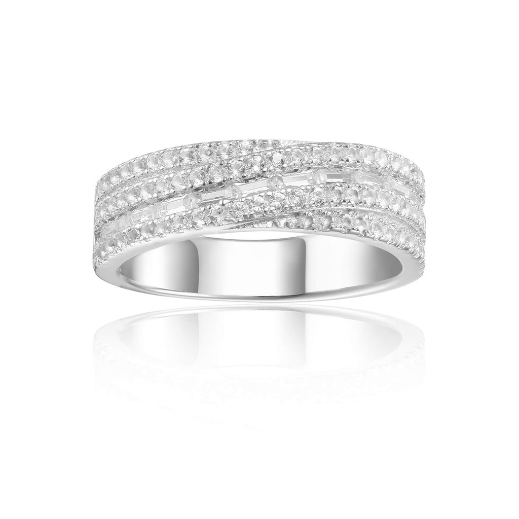 Plaited Baguette White Topaz Sterling Silver Ring, $ 50 - 100, White Topaz, White, Baguette, 925 Sterling Silver, 5, 6, 7, 8, Eternity