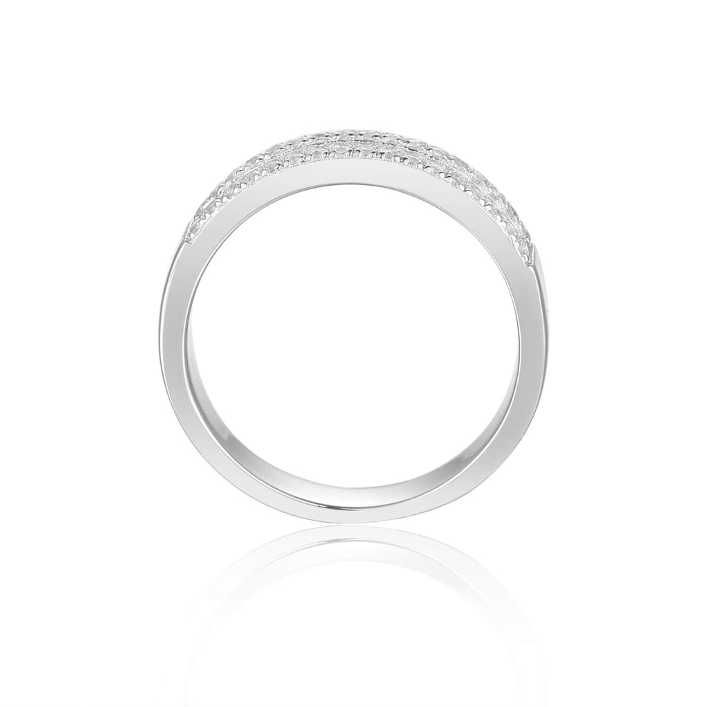 Sleek Baguette White Topaz Sterling Silver Ring, $ 50 - 100, White Topaz, White, Baguette, 925 Sterling Silver, 5, 6, 7, 8, Eternity