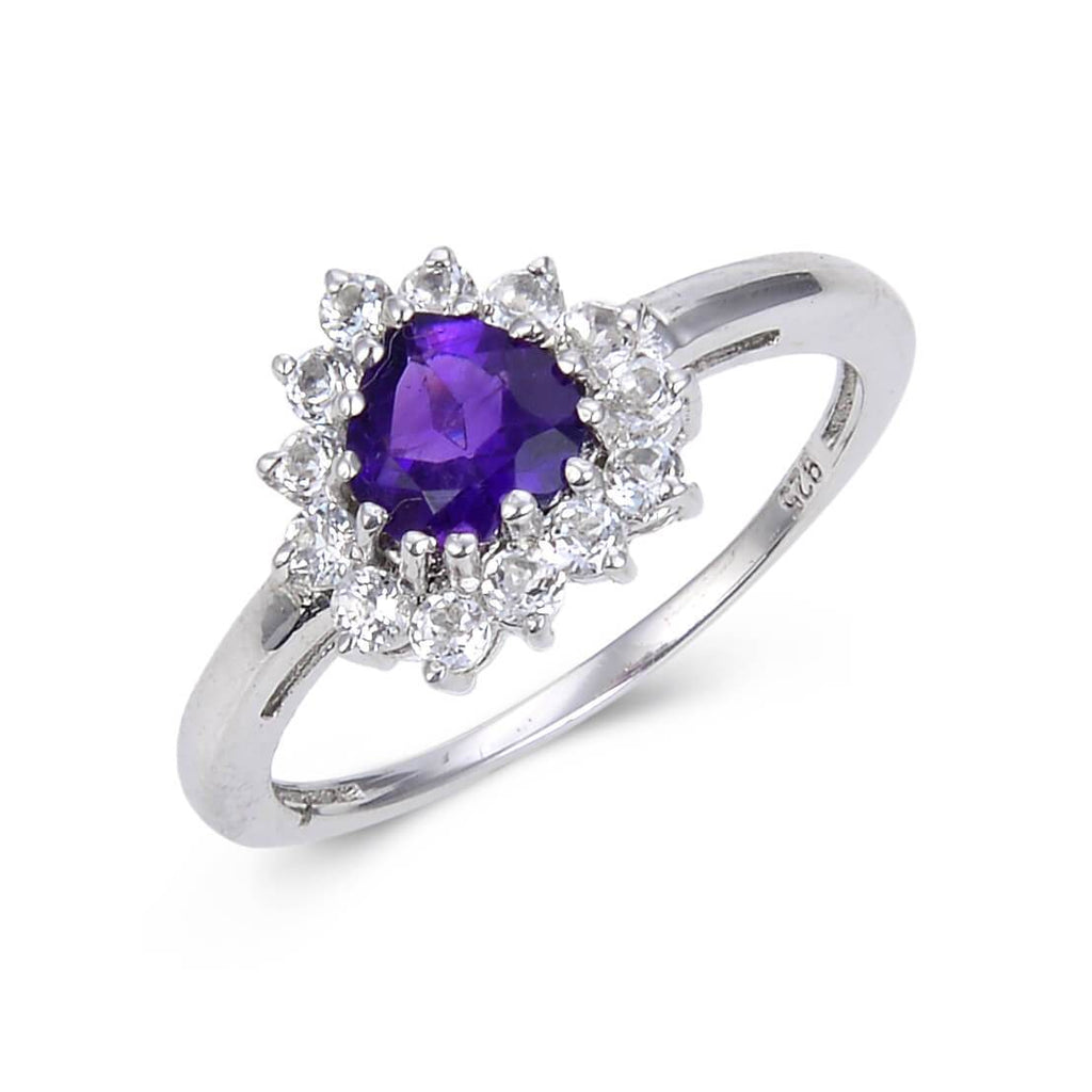 Signature Sterling Silver Heart Shaped Amethyst White Topaz Ring. $ 50 & Under, 6, 7, Purple, Heart Shape, Amethyst, Purple, White Topaz, 925 Sterling Silver, Halo RIng