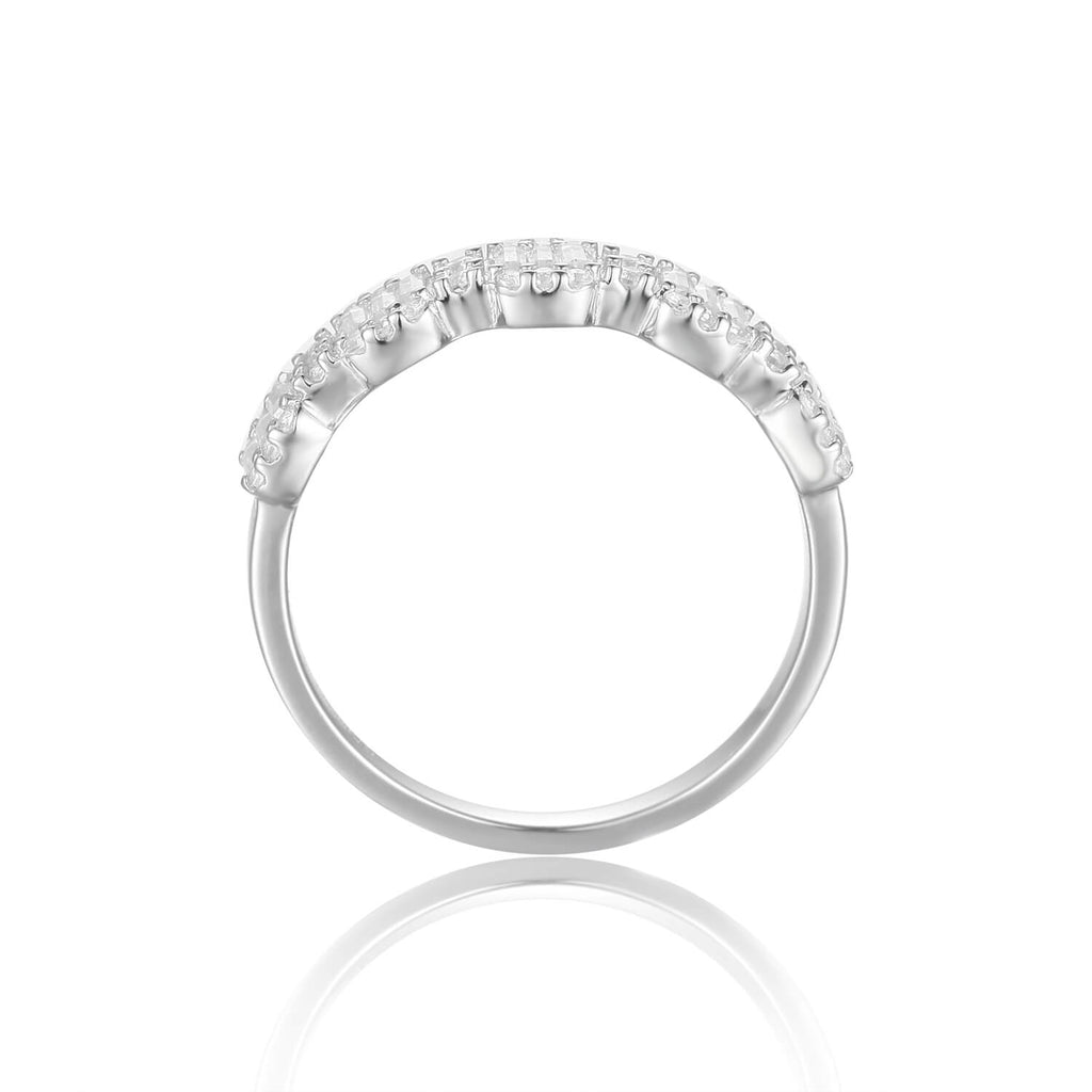 Solid Baguette White Topaz Sterling Silver Ring, $ 50 - 100, White Topaz, White, Baguette, 925 Sterling Silver, 5, 6, 7, 8, Eternity