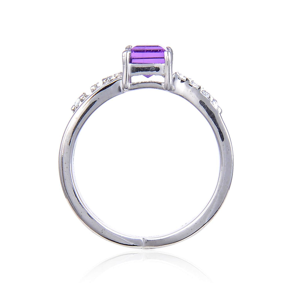 Classic Sterling Silver Square Amethyst White Topaz Ring. $ 50 & Under, 6, 7, 8, Purple, Square Shape, Amethyst, Purple, White Topaz, 925 Sterling Silver, Solitair Ring