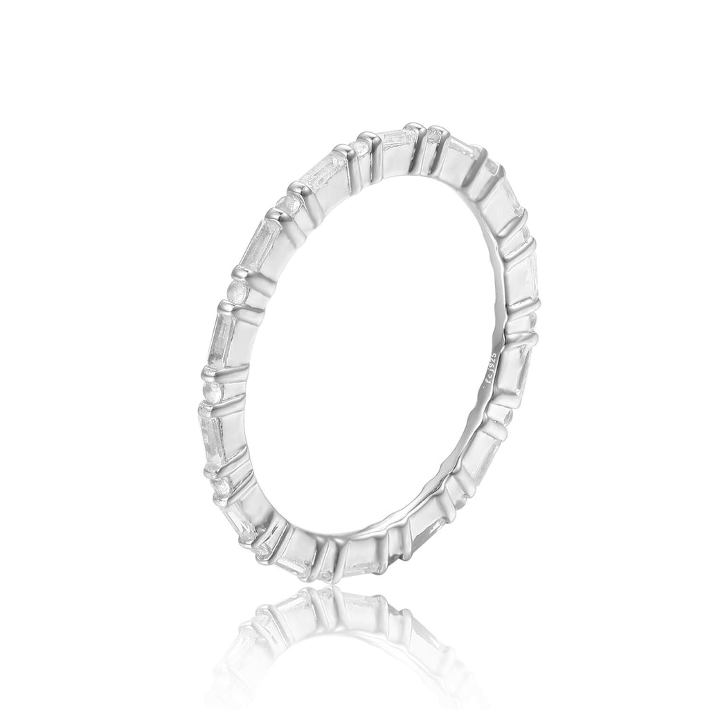 Dainty Baguette White Topaz Sterling Silver Ring, $ 50 & Under, White Topaz, White, Baguette, 925 Sterling Silver, 5, 6, 7, 8, Eternity