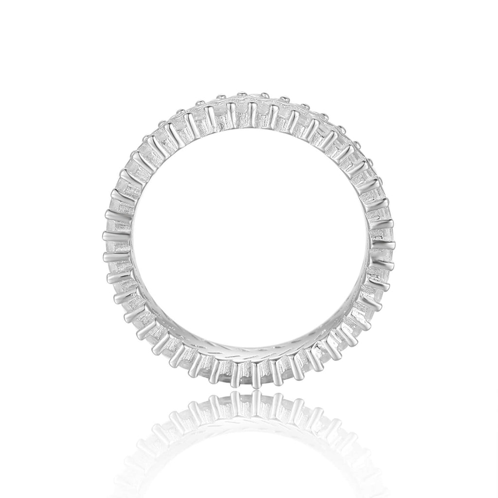 Contemporary Baguette White Topaz Sterling Silver Ring, $ 50 - 100, White Topaz, White, Baguette, 925 Sterling Silver, 5, 6, 7, 8, Eternity