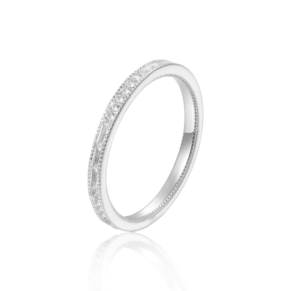 Light Baguette White Topaz Sterling Silver Ring, $ 50 & Under, White Topaz, White, Baguette, 925 Sterling Silver, 5, 6, 7, 8, Eternity