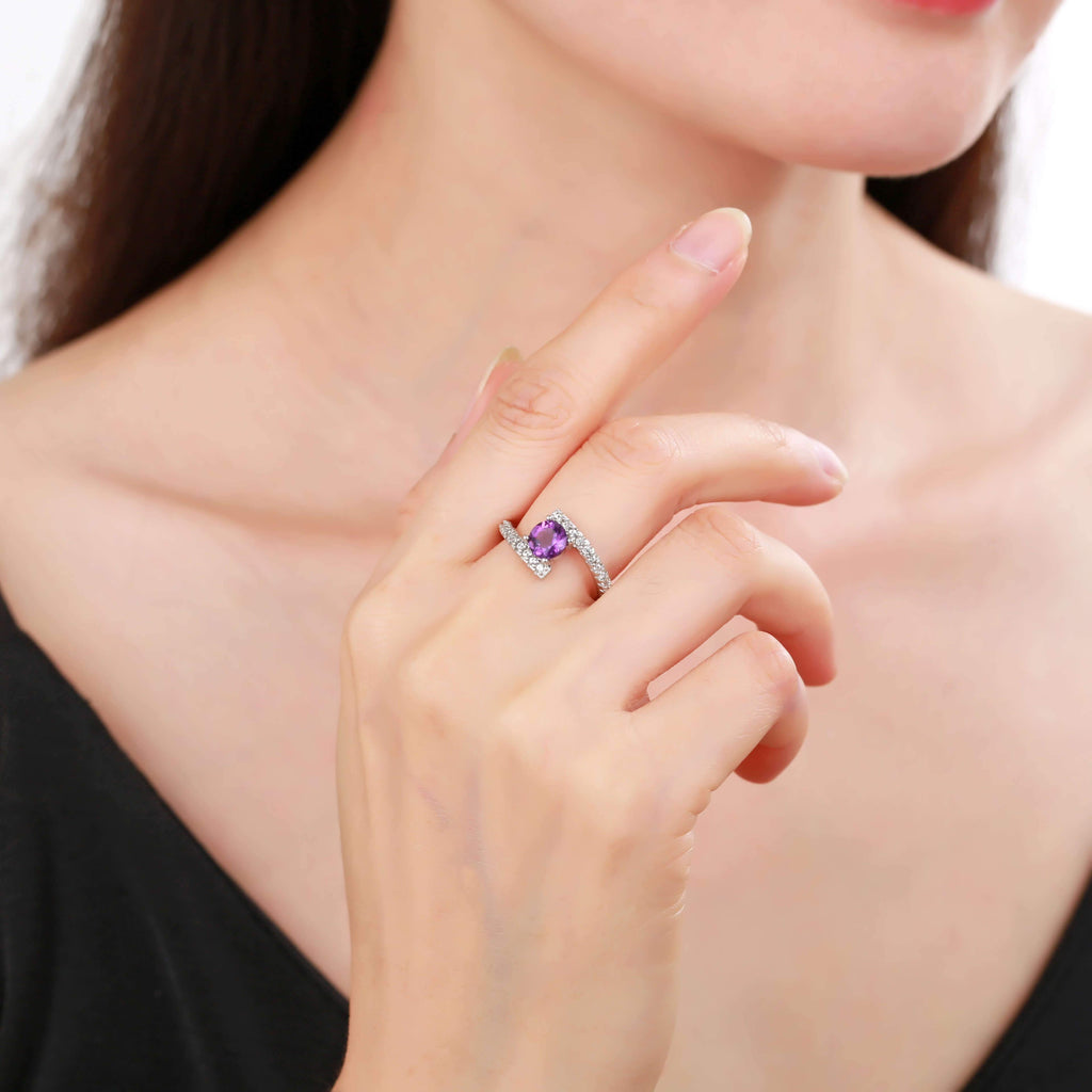 Elegant Natural Amethyst Round Shaped Ring with White Sapphire, Amethyst, Purple, Round, 925 Sterling Silver, 6, 7, 8, Fashion