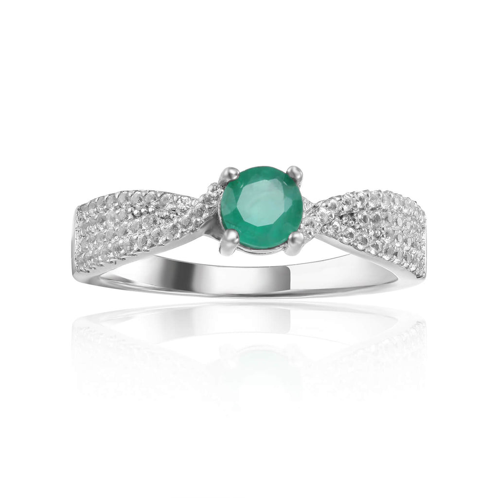 This May Birthstone Ring is a Green Emerald Unique Engagement Ring, this beautiful piece of jewelry could become a promise ring, an engagement ring, or a special gift this Christmas. A beautiful gift for her the Fine Color Jewels Dean Collection features Birthstone rings and other Fine Jewelry!