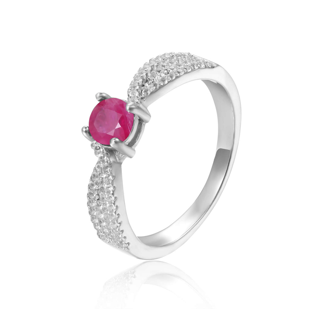 Graceful Genuine Ruby Round Shaped Ring with White Sapphire