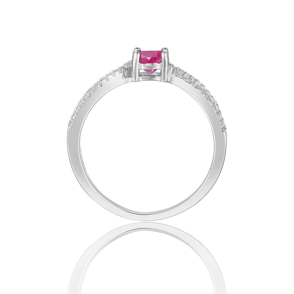 This July Birthstone Ring is a Ruby Red Unique Engagement Ring, this beautiful piece of jewelry could become a promise ring, an engagement ring, or a special gift this Christmas. A beautiful gift for her the Fine Color Jewels Dean Collection features Birthstone rings and other Fine Jewelry!