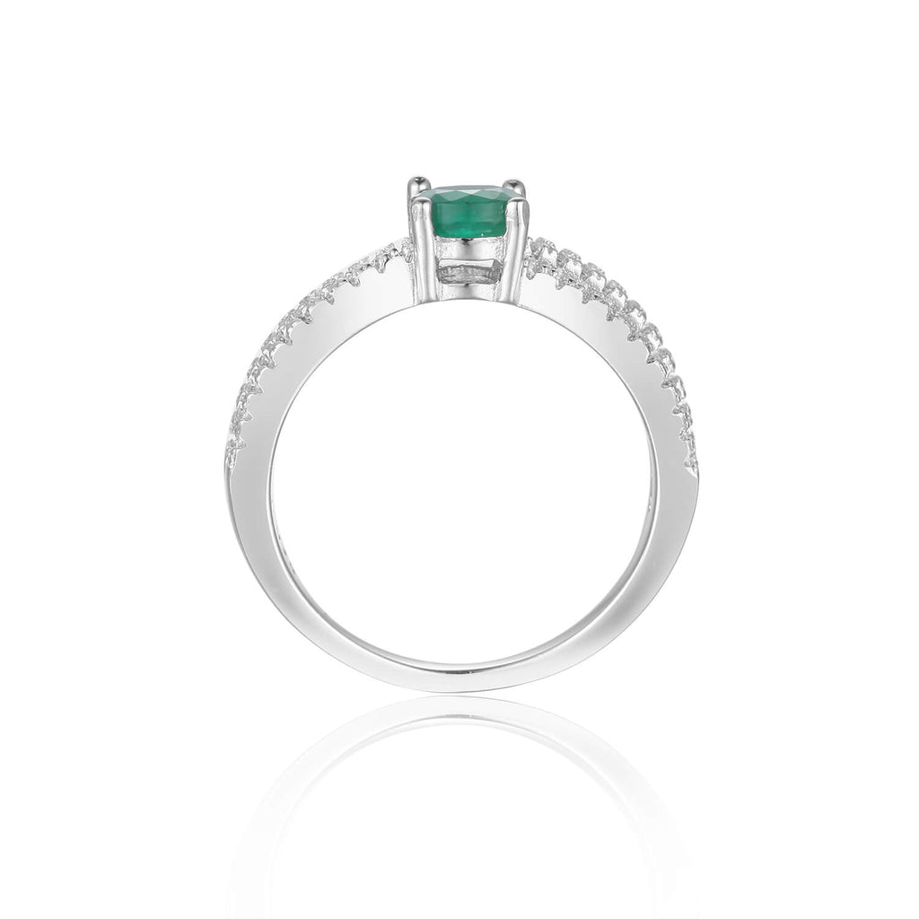 Stylish Round cut Genuine Emerald Ring with White Sapphire