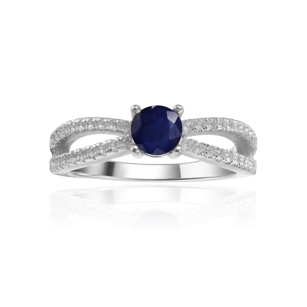 Stylish Round cut Genuine Blue Sapphire Ring with White Sapphire