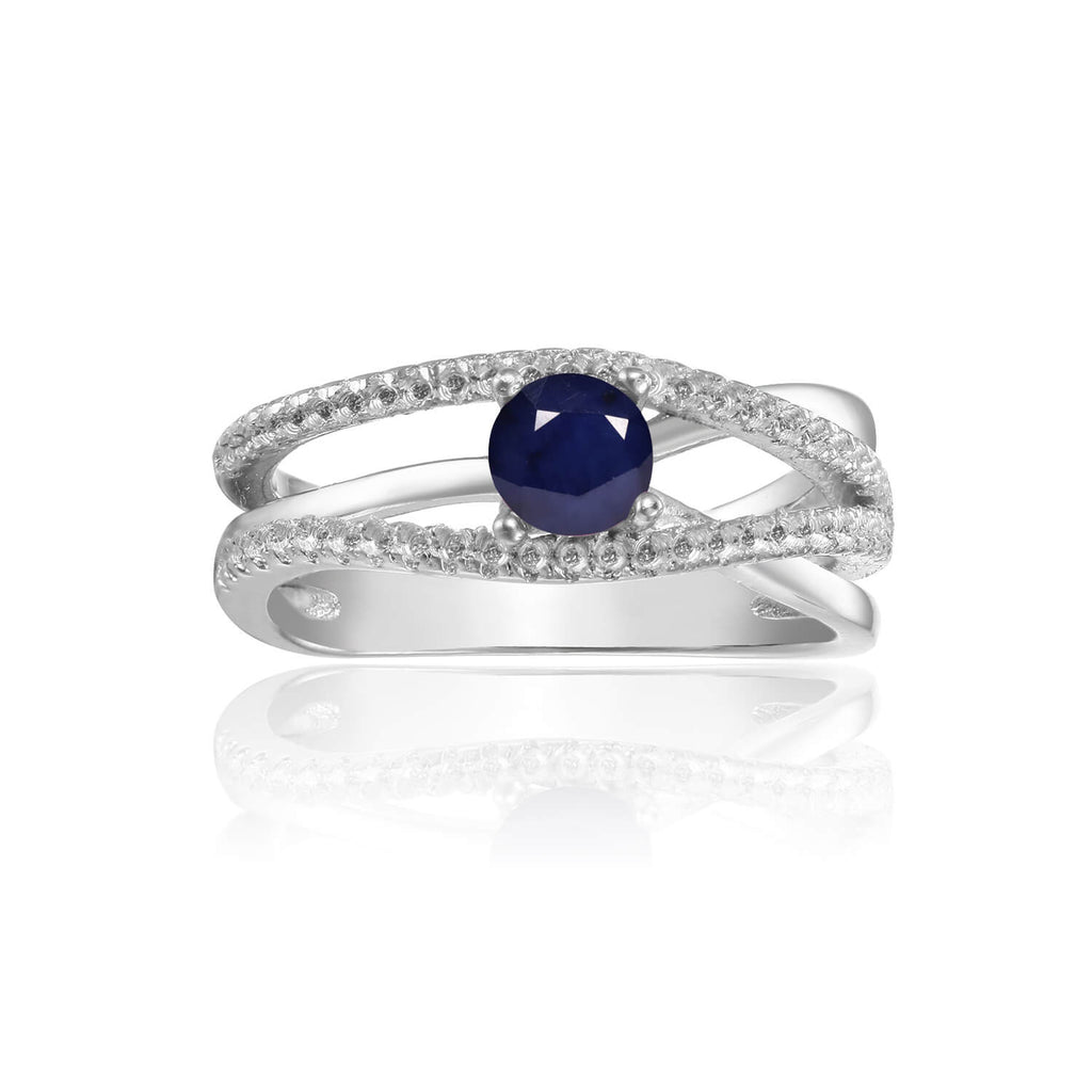 Ornate Round cut Genuine Blue Sapphire Ring with White Sapphire