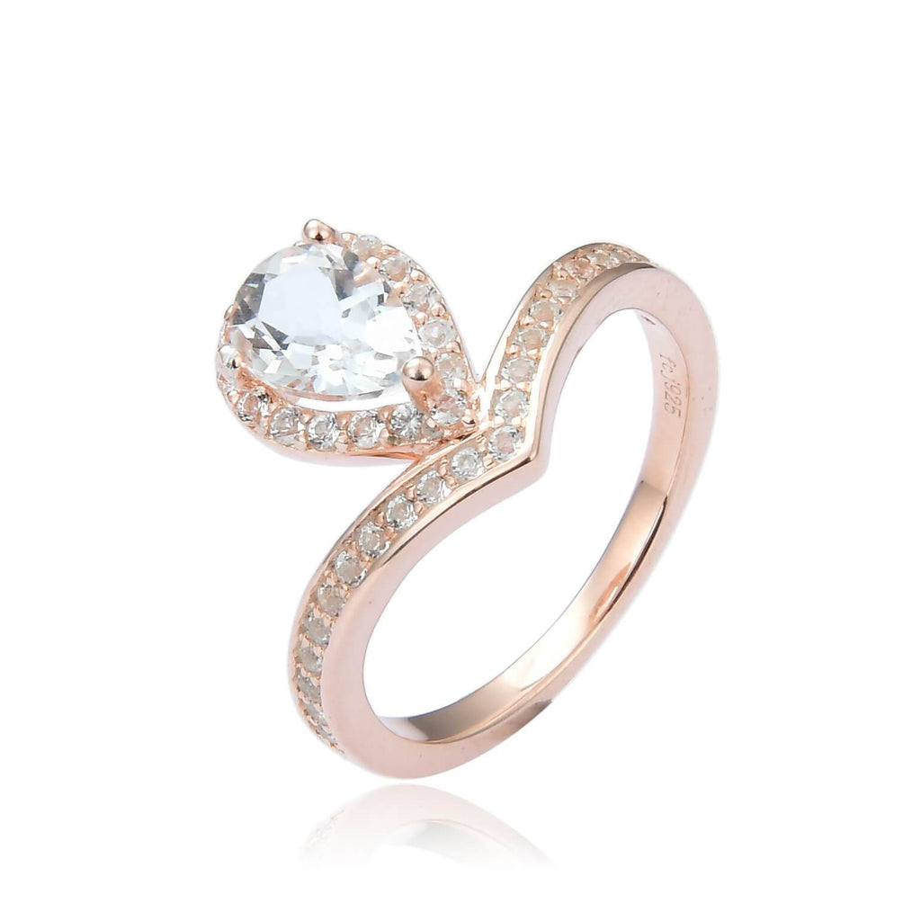 Regal Pear Shaped White Topaz Ring