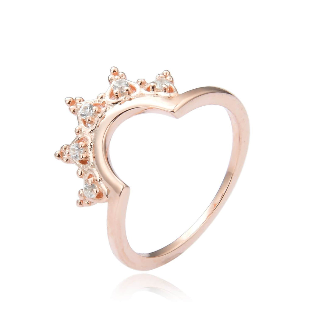 Crown Rose Gold Plated Sterling Silver Ring with White Sapphire